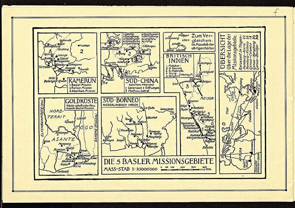Map of the Basel mission areas in 1931